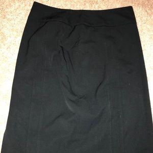 Black pleated pencil skirt